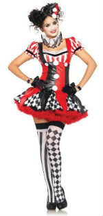 Sexy Harlequin Clown Woman Costume